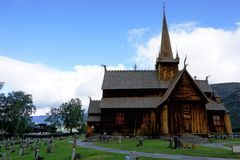 Stavkirke in Lom. Landscape with medieval stavkirke, Lom Norway Royalty Free Stock Photos