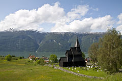 Stavkirke in Norway. Stavkirke (stave church) located in Urnes, one of the oldest wooden structures in Norway Stock Photo
