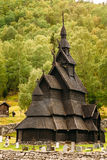 Stavkirke An Old Wooden Triple Nave Stave Church. Borgund, Norway - August 1, 2014: Stavkirke An Old Wooden Triple Nave Stave Church Stock Images