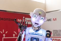 Free STAVROPOL, RUSSIA - APRIL 6, 2019: Modern Promo Robot On The Technology Exhibition In Stavropol, Russia Stock Photography - 154409492