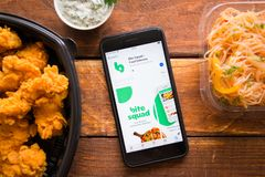 Smartphone with mobile application. Stavropol, Russian Federation. June 10, 2019. Smartphone with mobile application Bite Sguad-Food Delivery stock photos