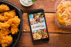 Smartphone with mobile application. Stavropol, Russian Federation. June 10, 2019. Smartphone with mobile application dish2go-Food Delivery stock images
