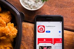 Smartphone with mobile application. Stavropol, Russian Federation. June 10, 2019. Smartphone with mobile application FoodDelivery.sr stock photo
