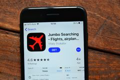 Mobile application for ordering air tickets. Stavropol, Russian Federation. June 17, 2019. Smartphone with mobile application Jumbo Searching royalty free stock photos