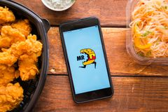 Smartphone with mobile application. Stavropol, Russian Federation. June 10, 2019. Smartphone with mobile application Mr D Food-Delivery Takeout stock photo