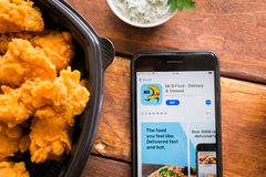Smartphone with mobile application. Stavropol, Russian Federation. June 10, 2019. Smartphone with mobile application Mr D Food-Delivery Takeout royalty free stock photo