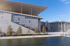 Stavros Niarchos Foundation Cultural Center, Athens, Greece. ATHENS, GREECE - DECEMBER 9: Stavros Niarchos Foundation Cultural Center on December 9, 2017 in stock photography
