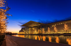 Stavros niarchos foundation cultural center park. Stavros niarchos foundation cultural park on sunset time Royalty Free Stock Photo