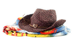 Staw hat and towel Stock Image