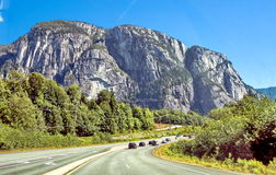Stawamus Chief Provincial Park. Sea to Sky Highway passes through the Stawamus Chief Provincial Park Stock Photo