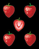 Stawberries on black Stock Photos