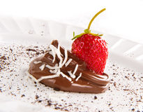 Stawberry and Chocolate with Coconut Slivers Royalty Free Stock Image