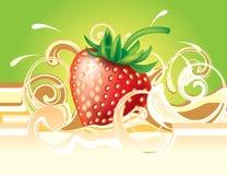 Stawberry en room Royalty-vrije Stock Foto