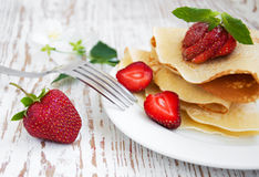 Stawberry pancakes Royalty Free Stock Images