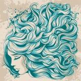 Stawia czoło dziewczyny z długie włosy, piękną fryzurą z błękitnymi kędziorami, royalty ilustracja