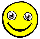 stawia czoło smiley kolor żółty Fotografia Royalty Free