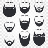 stawia czoło z wąsy i brody loga wektorowym setem Mężczyzna fryzjera męskiego sklepu emblemat Zdjęcia Royalty Free