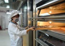 Stawia torty w piekarniku przy piekarnią zdjęcie stock
