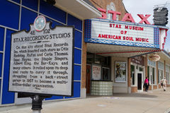 Stax Museum entrance. MEMPHIS, TENNESSEE, May 12, 2015 : The Stax Museum is a replica of the Stax recording studio. It not only celebrates the legacy of Stax Stock Photo