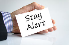 Stay alert text concept. Isolated over white background Stock Photos