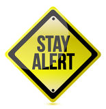 Stay alert yellow illustration design over white Royalty Free Stock Photos