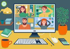 Free Stay And Work From Home Video Conference Meeting Concept. Workplace With Computer Screen Group Of People Talking By Internet. Web Stock Images - 184641394