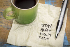 Stay away from easy - napkin concept Stock Image