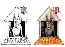 Stay Away. Illustration of doberman in his house. On the left side black and white drawing, on the right side digitally colored illustration. Isolated on white Stock Photos