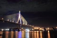 Stay bridge at night. Night scene stay bridge at bangkok, thailand Stock Photography