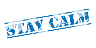 Stay calm blue stamp. On white background Royalty Free Stock Images