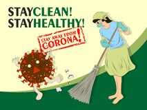 Woman in masker sweeping and cleaning the house with broom to stay away from Corona Virus Covid19 vector clip art