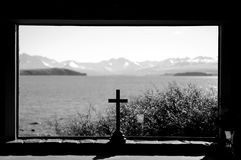 Stay clem and cool at Church of the Good Shepherd at Lake Tekapo in paradise places, South New Zealand. Lake Tekapo is a lakeside resort village in the Mackenzie Stock Photo