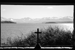 Stay clem and cool at Church of the Good Shepherd at Lake Tekapo in paradise places, South New Zealand. Lake Tekapo is a lakeside resort village in the Mackenzie Royalty Free Stock Photography