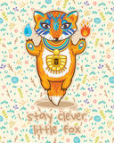 Stay clever. Cute card with little fox. Royalty Free Stock Image