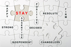 STAY concept, written on white puzzle, jigsaw - Stock Image Royalty Free Stock Photo