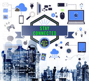 Stay Connected Technology Icons Graphics Concept vector illustration