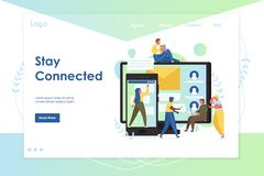 Stay connected vector website landing page design template. Stay connected vector website template, web page and landing page design for website and mobile site royalty free illustration