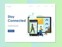 Stay connected vector website landing page design template. Stay connected vector website template, web page and landing page design for website and mobile site vector illustration
