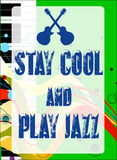 Stay Cool Play Jazz. Black and white piano keys set on a jazz grunge background with the message Stay Cool and Play Jazz Stock Image