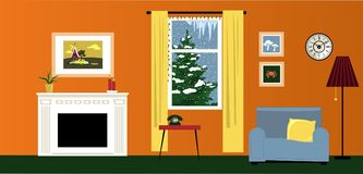 Stay cozy in winter. Interior of a cozy family room with a fireplace and reading nook, winter landscape behind the window, EPS 8 vector illustration Stock Photography