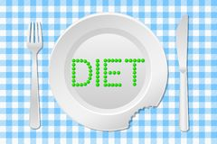 Stay on a diet. Vector illustration of a table laid with a diet plate peas on a checkered tablecloth stock illustration