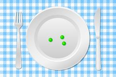 Stay on a diet. Vector illustration of a table laid with a diet plate peas on a checkered tablecloth Royalty Free Stock Photography