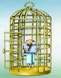 Stay in distracted cage. A man in the cage of a bird does not run away because he is distracted from the computer royalty free illustration