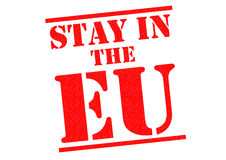STAY IN THE EU. Red Rubber Stamp over a white background Stock Photography