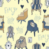 Stay Fancy illustrations, seamless  patterns Royalty Free Stock Photo