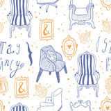 Stay Fancy illustrations, seamless  patterns Stock Photos