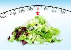 Stay fit. A pile of lettuce mix with a draw of a scale, symbolizing the concept stay fit royalty free stock photos