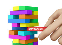 STAY FOCUSED. CONCEPT 3d rendering royalty free stock photography