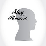 Stay focused head sign illustration Royalty Free Stock Photo