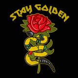 Stay golden. Beauty fashion embroidery Japan style snake with rose and good lettering `Stay golden`. Modern vector mascot illustration for print design of Royalty Free Stock Image